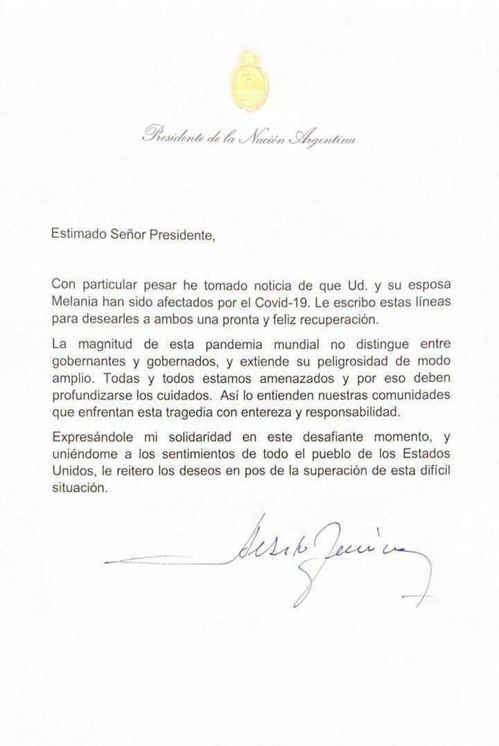 La carta de Alberto Fernández a Donald Trump
